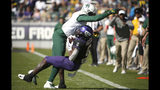 Baylor cornerback Jameson Houston (11) knocks down TCU running back Darius Anderson (6) during the second half of an NCAA college football game, Saturday, Nov. 9, 2019, in Fort Worth, Texas. Baylor won 29-23 in triple overtime. (AP Photo/Ron Jenkins)