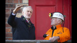 Britain's Labour Party Jeremy Corbyn meets former miner John Kane at the National Mining Museum at the former Lady Victoria Colliery in Newtongrange, Scotland, Thursday Nov, 14, 2019, on the General Election campaign trail. (Jane Barlow/PA via AP)