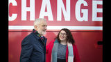 Britain's Labour Party leader Jeremy Corbyn and Shadow Minister for Climate Justice Danielle Rowley visit the National Mining Museum at the former Lady Victoria Colliery in Newtongrange, Scotland, Thursday Nov, 14, 2019, on the General Election campaign trail. (Jane Barlow/PA via AP)