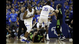 Seton Hall guard Quincy McKnight reacts after being called for a foul against Michigan State guard Cassius Winston (5) during the second half of an NCAA college basketball game Thursday, Nov. 14, 2019, in Newark, N.J. (AP Photo/Adam Hunger)