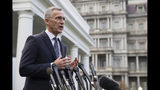NATO Secretary-General Jens Stoltenberg speaks with reporters after meeting with President Donald Trump at the White House, Thursday, Nov. 14, 2019, in Washington. (AP Photo/Alex Brandon)