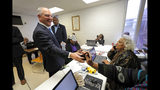 Louisiana Gov. John Bel Edwards greets campaign workers in Shreveport, La., Thursday, Nov. 14, 2019. Edwards, a Democrat, was campaigning in the same metropolitan area his Republican challenger, Eddie Rispone, will be holding a campaign rally with President Donald Trump later in the evening. (AP Photo/Gerald Herbert)