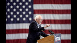 FILE - In this Nov. 8, 2019, file photo, Democratic presidential candidate Sen. Bernie Sanders, I-Vt., addresses supporters during an election rally on the campus of Iowa Western Community College in Council Bluffs, Iowa. (AP Photo/Nati Harnik, File)