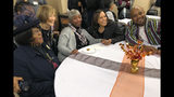 Democratic presidential candidate Sen. Kamala Harris, D-Calif., poses for a photo with Charlene Washington, left, Odell Woodley, third from left, and Nathaniel Naylor, right, at a church congregation breakfast in Fort Dodge, Iowa, on Nov. 10, 2019. Harris is campaigning regularly in Iowa as she seeks to boost her struggling campaign. (AP Photo/Kathleen Ronayne)