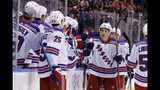 New York Rangers center Ryan Strome (16) celebrates his first-period goal against the Florida Panthers during an NHL hockey game, Saturday, Nov. 16, 2019, in Sunrise, Fla. (AP Photo/Joe Skipper)