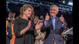 Louisiana Republican gubernatorial candidate Eddie Rispone gives the thumbs up next to his wife Linda Rispone after he addresses supporters at his election night watch party at L'Auberge Casino and Hotel in Baton Rouge, La., Saturday, Nov. 16, 2019. (AP Photo/Sophia Germer)