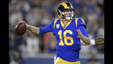 Los Angeles Rams quarterback Jared Goff passes against the Chicago Bears during the first half of an NFL football game Sunday, Nov. 17, 2019, in Los Angeles. (AP Photo/Kyusung Gong)