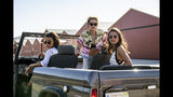 """This image released by Sony Pictures shows, from left, Ella Balinska, Kristen Stewart and Naomi Scott in the film, """"Charlie's Angels."""" (Merie Weismiller Wallace/Sony Pictures via AP)"""