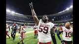 Oklahoma offensive lineman Adrian Ealy (59) walks off the field following the team's 34-31 victory over Baylor in an NCAA college football game in Waco, Texas, Saturday, Nov. 16, 2019. (AP Photo/Ray Carlin)