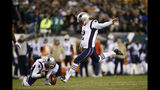 New England Patriots' Nick Folk kicks a field goal during the first half of an NFL football game against the Philadelphia Eagles, Sunday, Nov. 17, 2019, in Philadelphia. (AP Photo/Michael Perez)