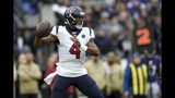 Houston Texans quarterback Deshaun Watson throws a pass against the Baltimore Ravens prior to an NFL football game, Sunday, Nov. 17, 2019, in Baltimore. (AP Photo/Gail Burton)