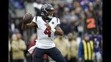 Houston Texans quarterback Deshaun Watson throws a pass against the Baltimore Ravens prior to an NFL football game, Sunday, Nov. 17, 2019, in Baltimore. (AP Photo/Gail Burton)