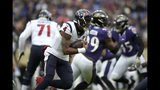 Houston Texans quarterback Deshaun Watson runs with the ball against the Baltimore Ravens prior to an NFL football game, Sunday, Nov. 17, 2019, in Baltimore. (AP Photo/Gail Burton)