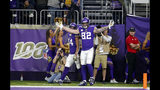 Minnesota Vikings tight end Kyle Rudolph celebrates after catching a 32-yard touchdown pass during the second half of an NFL football game against the Denver Broncos, Sunday, Nov. 17, 2019, in Minneapolis. (AP Photo/Bruce Kluckhohn)