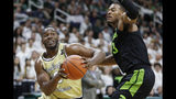 Charleston Southern forward Ty Jones, left, is defended by Michigan State forward Xavier Tillman (23) during the first half of an NCAA college basketball game, Monday, Nov. 18, 2019, in East Lansing, Mich. (AP Photo/Carlos Osorio)