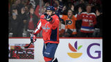 Washington Capitals left wing Alex Ovechkin (8), of Russia, celebrates his goal during the second period of an NHL hockey game against the Anaheim Ducks, Monday, Nov. 18, 2019, in Washington. (AP Photo/Nick Wass)