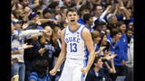 Duke's Joey Baker (13) reacts to a play during the second half of the team's NCAA college basketball game against Georgia State in Durham, N.C., Friday, Nov. 15, 2019. (AP Photo/Ben McKeown)