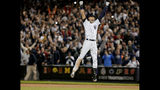 FILE - In this Sept. 25, 2014, file photo, New York Yankees' Derek Jeter jumps after hitting the game-winning single against the Baltimore Orioles in the ninth inning of a baseball game, in New York. Derek Jeter is among 18 newcomers on the 2020 Hall of Fame ballot, announced Monday, Nov. 18, 2019, and is likely to be an overwhelming choice to join former New York Yankees teammate Mariano Rivera in Cooperstown after the reliever last year became the first unanimous pick by the Baseball Writers' Association of America. (AP Photo/Julie Jacobson, File)