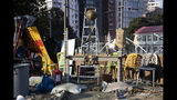 A self made catapult is left over at the Hong Kong Polytechnic University campus in Hong Kong on Tuesday, Nov. 19, 2019. Police tightened their siege of the university campus where hundreds of protesters remained trapped overnight Tuesday in the latest dramatic episode in months of protests against growing Chinese control over the semi-autonomous city. (AP Photo/Ng Han Guan)