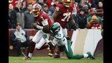 New York Jets strong safety Jamal Adams (33) sacks Washington Redskins quarterback Dwayne Haskins (7) in the first half of an NFL football game, Sunday, Nov. 17, 2019, in Landover, Md. (AP Photo/Alex Brandon)