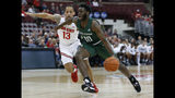 Stetson's Kenny Aninye, right, dribbles past Ohio State's C.J. Walker during the first half of an NCAA college basketball game Monday, Nov. 18, 2019, in Columbus, Ohio. (AP Photo/Jay LaPrete)