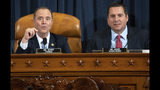 House Intelligence Committee Chairman Rep. Adam Schiff, D-Calif., left, talks as ranking member Rep. Devin Nunes, R-Calif., looks on during a hearing of the House Intelligence Committee on Capitol Hill in Washington, Wednesday, Nov. 13, 2019, during the first public impeachment hearing of President Donald Trump's efforts to tie U.S. aid for Ukraine to investigations of his political opponents. (Saul Loeb/Pool Photo via AP)