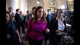 Rep. Elise Stefanik, R-N.Y., departs after speaking to members of the media following testimony from former U.S. Ambassador to Ukraine Marie Yovanovitch before the House Intelligence Committee on Capitol Hill in Washington, Friday, Nov. 15, 2019, during the second public impeachment hearing of President Donald Trump's efforts to tie U.S. aid for Ukraine to investigations of his political opponents. (AP Photo/Andrew Harnik)