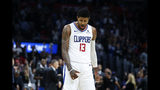 Los Angeles Clippers' Paul George (13) reacts after hitting a 3-point shot against the Oklahoma City Thunder during the second half of an NBA basketball game, Monday, Nov. 18, 2019, in Los Angeles. The Clippers won 90-88. (AP Photo/Ringo H.W. Chiu)