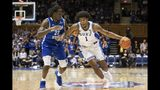 Duke's Vernon Carey Jr. (1) is guarded by Georgia State's Joe Jones III (23) during an NCAA college basketball game in Durham, N.C., Friday, Nov. 15, 2019. (AP Photo/Ben McKeown)