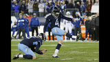 FILE - In this Sunday, Dec. 30, 2018 file photo, Tennessee Titans kicker Ryan Succop (4) kicks a 38-yard field goal against the Indianapolis Colts in the first half of an NFL football game in Nashville, Tenn. The Titans already have missed eight field goals through 10 games, matching their worst seasons of 2001 and 2004. It's why they rank dead last in the NFL converting just 46.7 percent (7 of 15).(AP Photo/James Kenney, File)