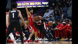 Portland Trail Blazers forward Carmelo Anthony (00) drives to the basket against New Orleans Pelicans guard Josh Hart (3) in the first half of an NBA basketball game in New Orleans, Tuesday, Nov. 19, 2019. (AP Photo/Gerald Herbert)