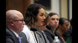Army Capt. Alivia Stehlik, second from left, together with other transgender military members, from left, Navy Lt. Cmdr. Blake Dremann, Army Capt. Jennifer Peace, Army SSgt. Patricia King, and Navy Petty Officer Third Class Akira Wyatt, testify about their service before a House Armed Services Subcommittee on Military Personnel hearing on Capitol Hill in Washington, Wednesday, Feb. 27, 2019, as the Trump administration pushes to ban their service. Stehlik is a graduate of West Point and served in Iraq. Amid their annual vigils for transgender homicide victims, trans-rights activists in the U.S. are trying to maintain long-term optimism even as many hard-won protections are under threat. (AP Photo/Manuel Balce Ceneta)