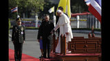 Pope Francis attends a welcome ceremony at the Government House courtyard, Thursday, Nov. 21, 2019, in Bangkok, Thailand. (AP Photo/Gregorio Borgia)