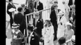 FILE - In this June 19, 1985, file photo, Prince Andrew walks with Sarah Ferguson at the Royal Ascot racing meeting, near London. (AP Photo/David Caulkin, File)