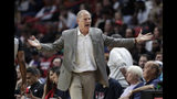 Cleveland Cavaliers head coach John Beilein reacts to a call during the first half of an NBA basketball game against the Miami Heat, Wednesday, Nov. 20, 2019, in Miami. (AP Photo/Lynne Sladky)