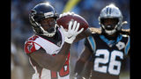 Atlanta Falcons wide receiver Calvin Ridley (18) catches a touchdown pass during the second half of an NFL football game against the Carolina Panthers in Charlotte, N.C., Sunday, Nov. 17, 2019. (AP Photo/Brian Blanco)