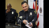 Houston Police Chief Art Acevedo prepares for a press conference at HPD headquarters on Wednesday, Nov. 20, 2019, in Houston. Former HPD officers Gerald Goines and Steven Bryant were taken into custody Wednesday and charged with a variety of federal crimes. The two former Houston police officers are facing federal charges related to providing false information in a January drug raid that left two people dead and several officers injured, authorities announced on Wednesday. (Jon Shapley/Houston Chronicle via AP)