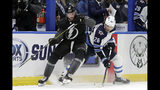 Winnipeg Jets right wing Blake Wheeler (26) strips the puck from Tampa Bay Lightning center Steven Stamkos (91) during the third period of an NHL hockey game Saturday, Nov. 16, 2019, in Tampa, Fla. (AP Photo/Chris O'Meara)