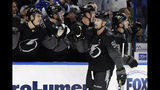 Tampa Bay Lightning center Steven Stamkos (91) celebrates with the bench after his goal against the Winnipeg Jets during the third period of an NHL hockey game Saturday, Nov. 16, 2019, in Tampa, Fla. (AP Photo/Chris O'Meara)
