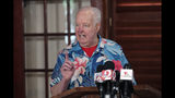 Pat Williams, co-founder of the NBA Orlando Magic basketball team, speaks at a news conference to announce a campaign to bring a Major League Baseball team to Orlando, Wednesday, Nov. 20, 2019, in Orlando, Fla.. (AP Photo/John Raoux)