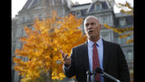 Marc Short, chief of staff to Vice President Mike Pence, speaks with members of the media outside the White House, Tuesday, Nov. 19, 2019, in Washington. (AP Photo/Patrick Semansky)