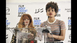 Natasha Lyonne, left, and Zazie Beetz announce the nominees for the 35th Film Independent Spirit Awards at the LINE Hotel on Thursday, Nov. 21, 2019, in Los Angeles. (Photo by Richard Shotwell/Invision/AP)