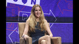 FILE - In this Oct. 20, 2018 file photo, Ann Coulter participates in a panel at Politicon in Los Angeles. Police arrested at least seven people and one person was injured during a protest at the University of California, Berkeley against a speech by conservative commentator Ann Coulter . KPIX-TV reports a protester who disrupted Coulter's Wednesday, Nov. 20, 2019, speech inside a University of California, Berkeley auditorium was handcuffed and taken out of the event. (Photo by Willy Sanjuan/Invision/AP, File)