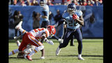 Tennessee Titans running back Derrick Henry, right, gets past Kansas City Chiefs free safety Juan Thornhill, left, as Henry runs 68 yards for a touchdown in the second half of an NFL football game Sunday, Nov. 10, 2019, in Nashville, Tenn. (AP Photo/James Kenney)