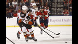 Anaheim Ducks center Troy Terry (61) passes the puck during the first period of an NHL hockey game against the Florida Panthers, Thursday, Nov. 21, 2019, in Sunrise, Fla. (AP Photo/Brynn Anderson)