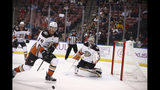 Anaheim Ducks right wing Carter Rowney (24) reacts after the puck hit the goalpost during the second period of an NHL hockey game against the Florida Panthers, Thursday, Nov. 21, 2019, in Sunrise, Fla. (AP Photo/Brynn Anderson)