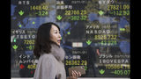 A woman walks by an electronic stock board of a securities firm in Tokyo, Thursday, Nov. 21, 2019. Shares skidded Thursday in Asia after moderate declines on Wall Street as anxious mounted over the possibility the U.S. and China may not reach a trade deal before next year. (AP Photo/Koji Sasahara)