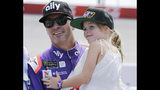 FILE - In this Aug. 31, 2019, file photo, Jimmie Johnson holds his daughter Lydia on pit road before qualifying for the NASCAR Cup series auto race at Darlington Raceway in Darlington, S.C. Seven-time NASCAR champion Jimmie Johnson says 2020 will be his final season of full-time racing. The winningest driver of his era will have a 19th season in the No. 48 Chevrolet and once again chase a record eighth championship. Johnson made the announcement in a video posted on social media, Wednesday, Nov. 20, 2019.(AP Photo/Terry Renna, File)