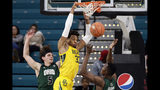 Baylor forward Freddie Gillespie (33) misses a dunk while Ohio forwards Sylvester Ogbonda and Ben Vander Plas (5) defend during the second half of an NCAA college basketball game at the Myrtle Beach Invitational in Conway, S.C., Thursday, Nov. 21, 2019. (AP Photo/Gerry Broome)