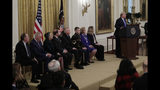 President Donald Trump speaks during a National Medal of Arts and National Humanities Medal ceremony in the East Room of the White House, Thursday, Nov. 21, 2019, in Washington. (AP Photo/Steve Helber)